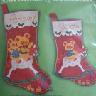 Vintage 2 Bucilla Jeweled Felt Christmas Stocking Craft Kits Three Bears on Rocking Horse