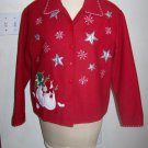 Take Two Womens Christmas Jacket Snowman Snowflakes Shiny Silver Stars