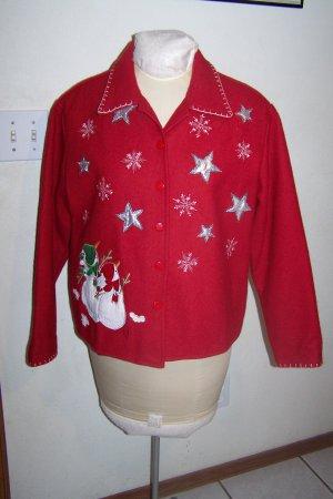 Take Two Womens Christmas Jacket Snowman Snowflakes Shiny Silver Stars