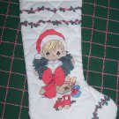 Vintage Handmade Precious Moments Christmas Stocking Boy in Santa Hat Wreath Train