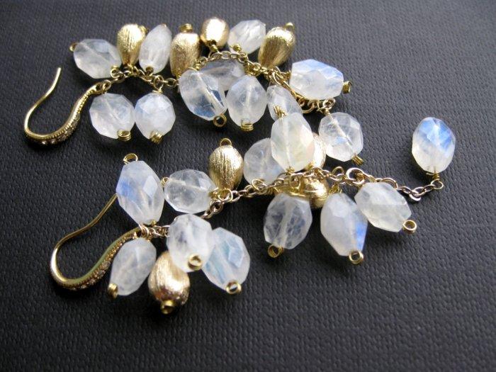 Glamorous Golden White Rainbow Moon Stones Jewelry Earrings