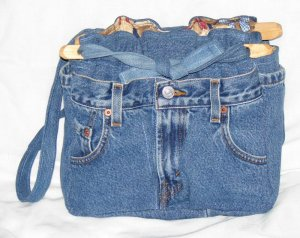 handbag, denim quilt, reversible, organizer purse