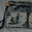 handbag, snowman tapestry, quilt, denim, reversible, organizer, purse