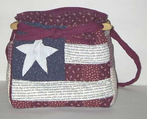 handbag,Americana quilt, denim, reversible, organizer, purse