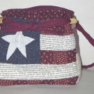 handbag,Americana quilt, denim, reversible, organizer, purse