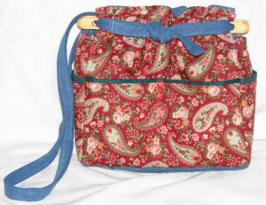 handbag, forget me not fabric, quilt, denim, reversible, organizer purse