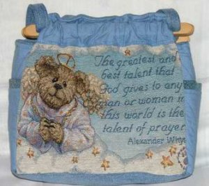 handbag, Boyds bear tapestry fabric, quilt, denim, reversible, organizing, purse