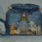handbag, angel dog walker fabric, quilt, denim, reversible, organizer, purse
