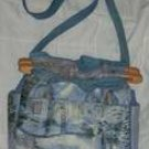handbag,Thomas Kinkade Christmas fabric, quilt, denim, reversible, organizer, purse