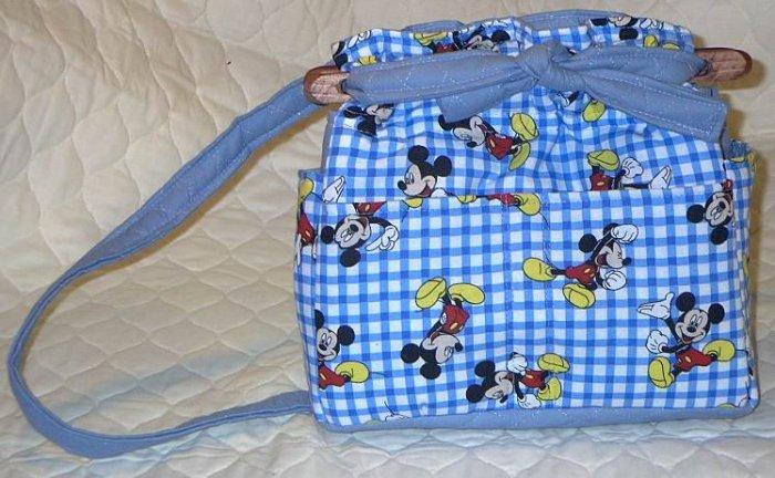 purse Mickey Mouse quilt denim organizer reversible handbag
