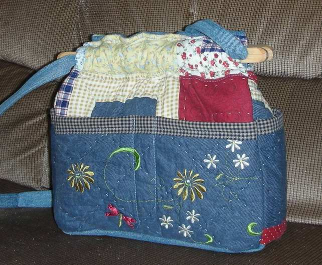 purse dragon fly crazy quilt denim organizer reversible handbag