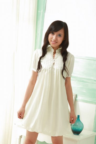 Ivory Detail Collar Causal Dress