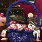 PLUSH SNOWMAN BASKET CHRISTMAS HOLIDAY DECORATION