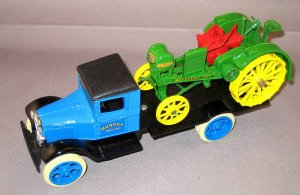 1931 HAWKEYE VINTAGE DIECAST DELIVERY TRUCK WITH 1919 WB TRACTOR