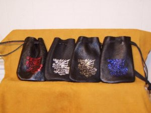 Leather Magic Bag Pouch with Dragon Free Shipping