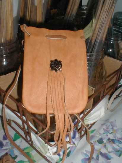 Leather Hide Medicine/Magic Bag Fringe & Totem FREE SHIPPING