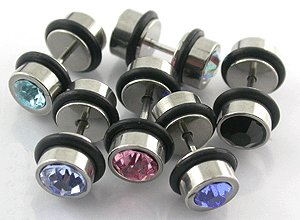 Steel Jeweled 16g Ear Stud