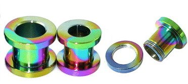 Steel Rainbow Anodised Ear Flesh Tunnel