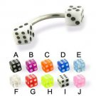 Surgical Steel Banana With UV Fancy Dice