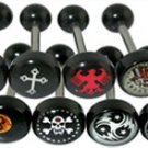 Steel Tounge Barbell with Black UV Logo Ball