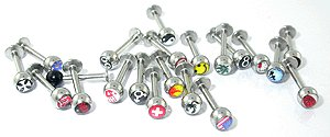 Sugical steel Labret with Mix Design Logo Ball