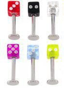 Sugical steel Labret with UV Dice