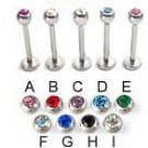 Surgical Steel Labret with Stone Ball