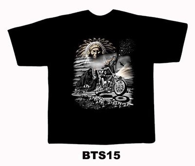 Black colour T-Shirt with Fabric printing Bikeman Design