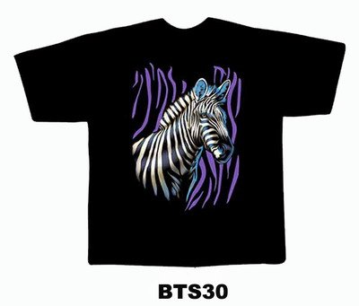 Black colour T-Shirt with Fabric printing Zebra Face Design