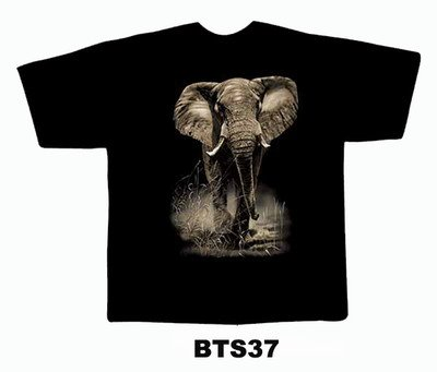 Black colour T-Shirt with Fabric printing Elephant Design