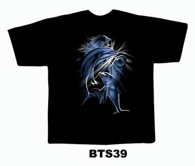 Black colour T-Shirt with Fabric printing Blue Dolphin Design