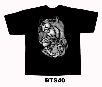 Black colour T-Shirt with Fabric printing Two Tiger face Design