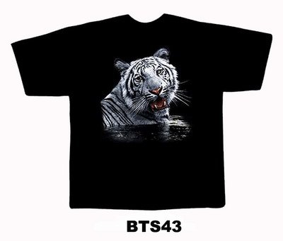 Black colour T-Shirt with Fabric printing Tiger in water Design
