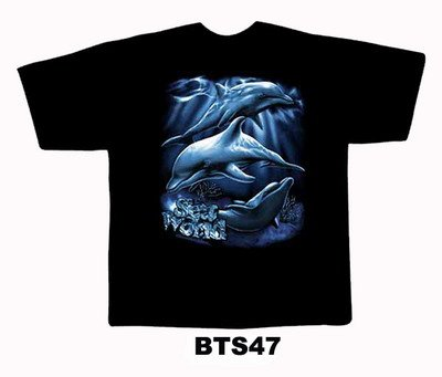 Black colour T-Shirt with Fabric printing Dolphin Design