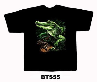 Black colour T-Shirt with Fabric printing Snake Design