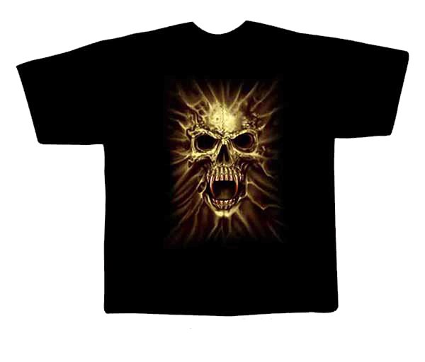 Black colour T-Shirt with Fabric printing Skull Face Design