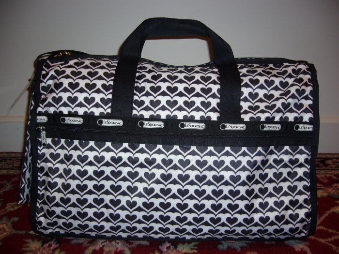 NWT LeSportsac Large Weekender Bag Sugar Cane Hearts