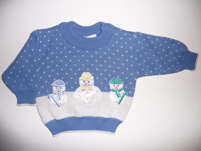 NWT Talbots Infant Baby Sweater Snowmen Snowman 6 mths