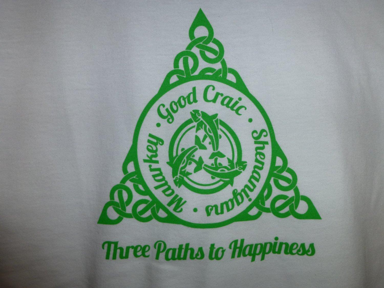 Womens Irish V-Neck T-Shirt:  Three Paths to Happiness: Malarkey - Good Craic - Shenanigans - Medium