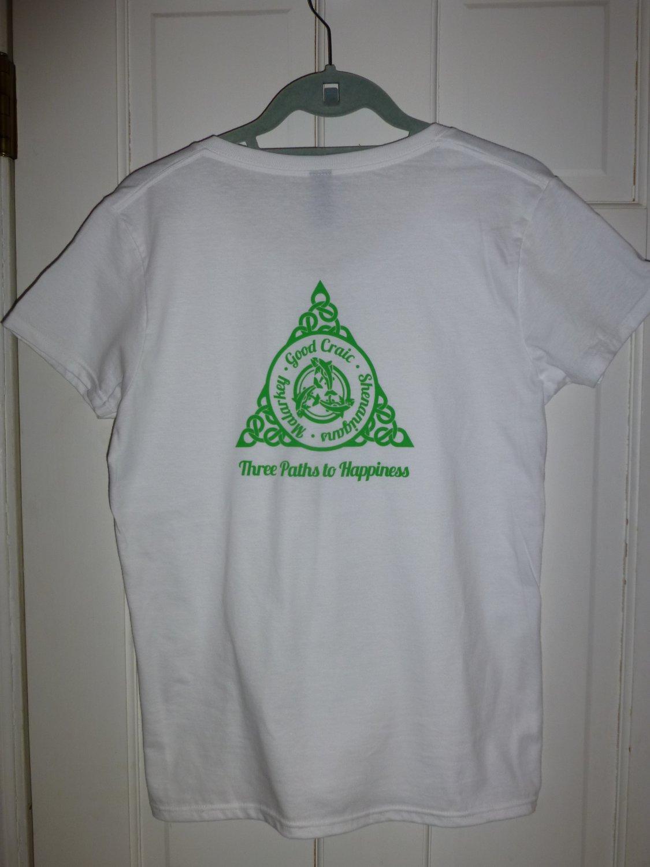 Womens Irish V-Neck T-Shirt:  Three Paths to Happiness: Malarkey - Good Craic - Shenanigans - XL
