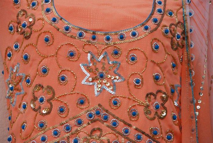 Peach hand embroidered salwar kameez / lehenga choli designer partywear in crepeCustom tailoring
