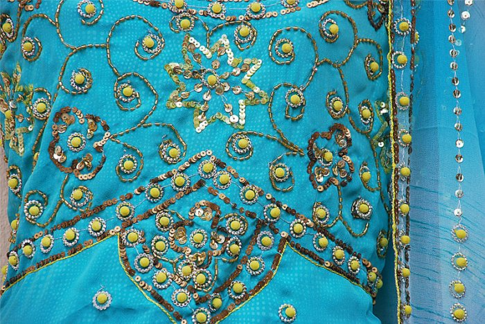 Aqua hand embroidered salwar kameez / lehenga choli designer partywear in crepeCustom tailoring