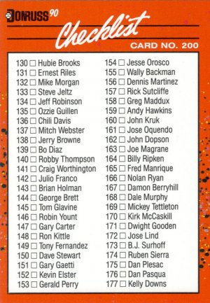 Card #200 Checklist 130-231