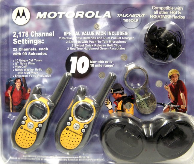 Motorola TX6510XLR Two Way Radio - 10 Mile Range w/Rechargeable Batteries