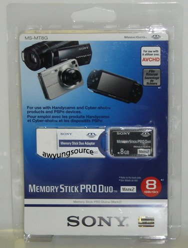 Pro Duo 8GB Sony Original Stick Mark 2 Memory Card - Genuine