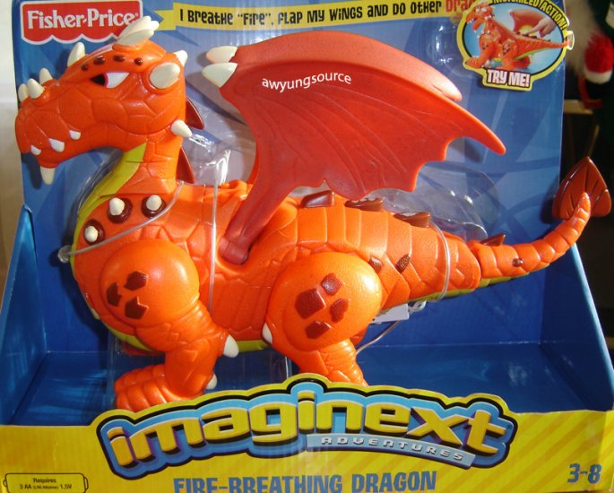 IMAGINEXT FIRE-BREATHING DRAGON BY FISHER PRICE NIB!