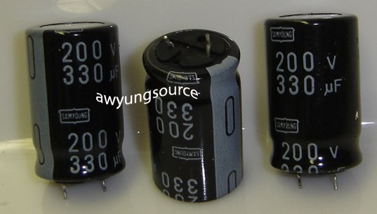 330uF-200V SAMYOUNG ELECTROLYTIC CAPACITORS 3 PCS!