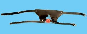 Leather Padded Ball Gag Blindfold - Item B169