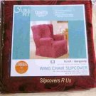 NEW! BURGUNDY scroll T CUSHION WING CHAIR SLIPCOVER