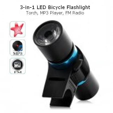 *NEW* 3-in-1 LED MP3 Bicycle Flashlight (Torch, MP3 Player, FM Radio)